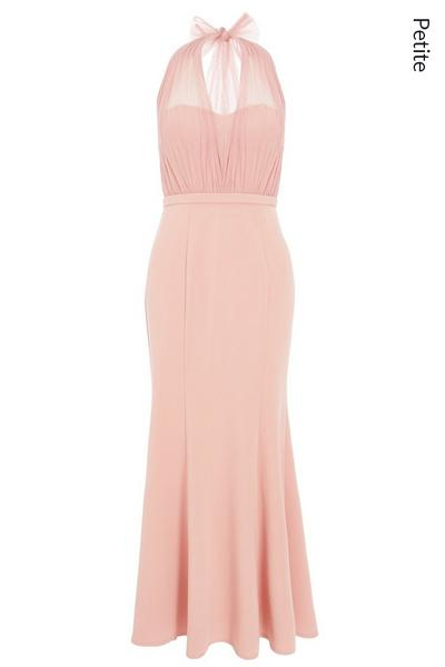 Petite Pink Mesh Halterneck Maxi Dress